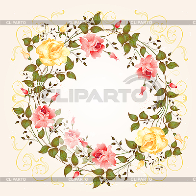Round frame with roses   Stock Vector Graphics  ID 3081228