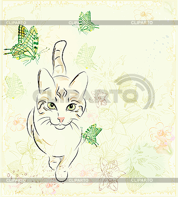 Cat and butterflies | Stock Vector Graphics |ID 3081262