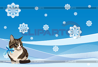 Tabby cat on the winter card | Stock Vector Graphics |ID 3081325