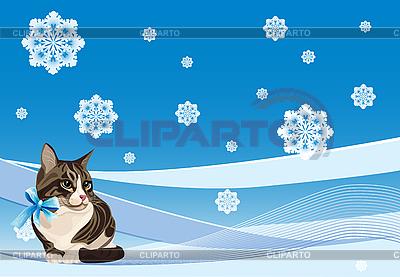 冬天的卡上的猫 | 向量插图 |ID 3081325