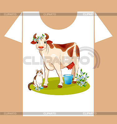 Childish t-shirt design with happy cow and cat | Stock Vector Graphics |ID 3081337