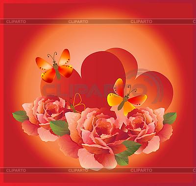 Romantyczną kartkę z czerwonych róż i motyli | Klipart wektorowy |ID 3081568