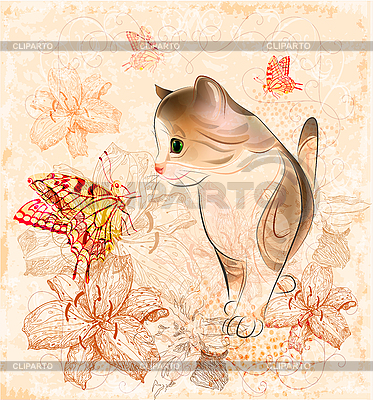 Birthday card with little kitten | Stock Vector Graphics |ID 3082216