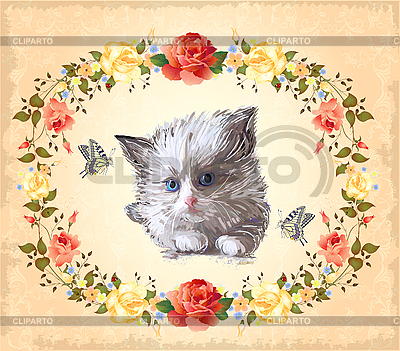 고양이, 장미와 나비 인사말 카드   벡터 클립 아트  ID 3082367