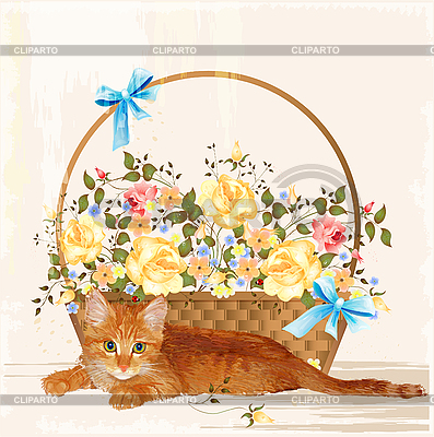 Vintage greeting card with ginger kitten and basket | Stock Vector Graphics |ID 3082369