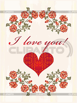 Valentines card with heart and red roses | Stock Vector Graphics |ID 3082371