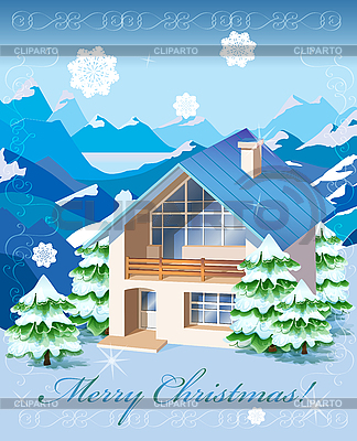 Tarjeta de navidad con paisaje rural y la casa ilustraci n vectorial de stock cliparto - Casa rural navidad ...
