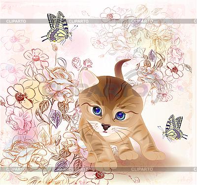 작은 새끼 고양이와 꽃 복고풍 인사말 카드 | 벡터 클립 아트 |ID 3102843
