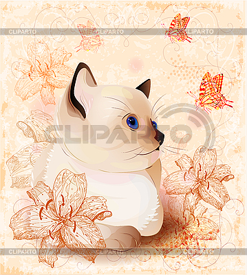 Vintage birthday card with little siamese kitten and flowers | Stock Vector Graphics |ID 3146366