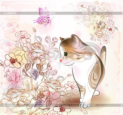 작은 얼룩 고양이, 꽃과 복고풍 생일 인사말 카드 | 벡터 클립 아트 |ID 3146368