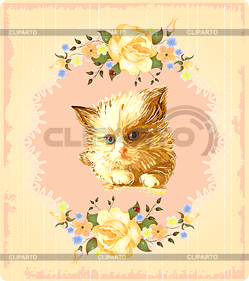 Vintage greeting card with kitten and roses | Stock Vector Graphics |ID 3150202