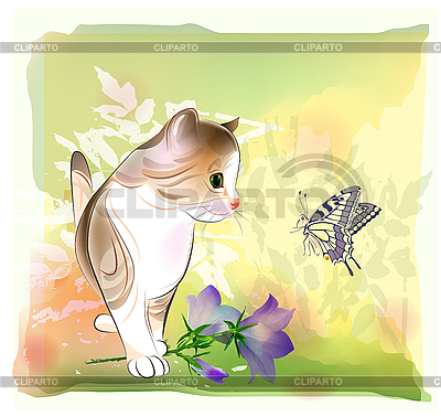 Retro birthday greeting card with little kitten | Stock Vector Graphics |ID 3150220