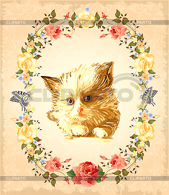 Vintage greeting card with fluffy kitten | Stock Vector Graphics |ID 3158797