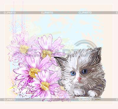 Kartka urodzinowa z małym puszysty kotek i gerbery | Klipart wektorowy |ID 3159305