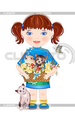 有趣的小猫的小女孩, | 向量插图 |ID 3180434