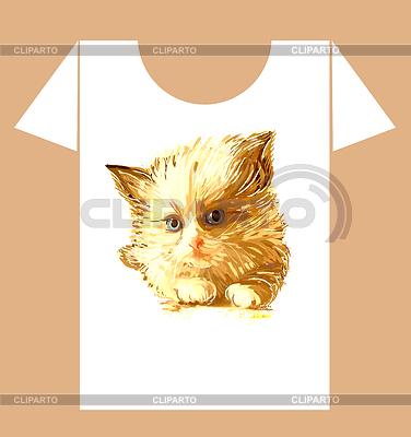 생강 솜 털 고양이와 유치 t-셔츠 디자인   벡터 클립 아트  ID 3267825
