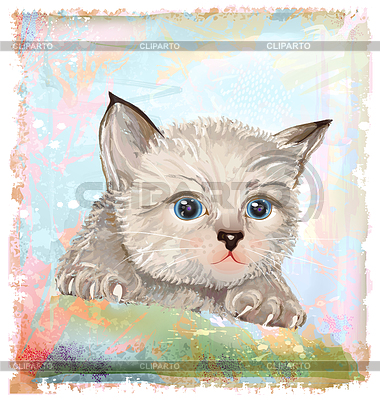 Portrait of fluffy kitten with blue eyes | Stock Vector Graphics |ID 3279488