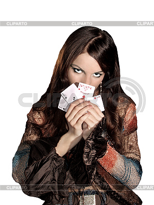 Woman with playing cards | High resolution stock photo |ID 3049764