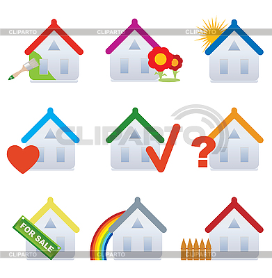 Real estate house icons | Stock Vector Graphics |ID 3045572