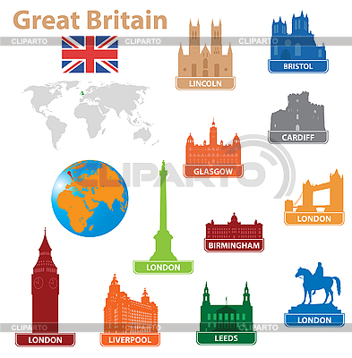 Symbols of cities in Great Britain | Stock Vector Graphics |ID 3116301