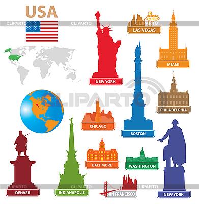Символы городов США | Векторный клипарт |ID 3116417