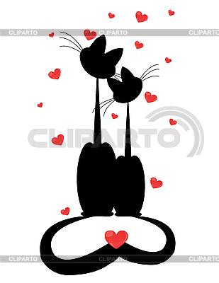 Две влюбленные кошки | Векторный клипарт |ID 3047238