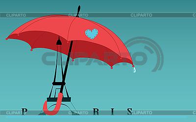 우산 아래 에펠 탑 | 벡터 클립 아트 |ID 3047272
