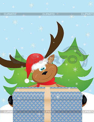 Reindeer with Santa hat | Stock Vector Graphics |ID 3077360