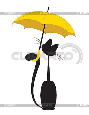 Кот под желтым зонтиком | Векторный клипарт |ID 3077401