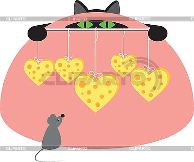 Maus, Katze und Käse | Stock Vektorgrafik |ID 3136542