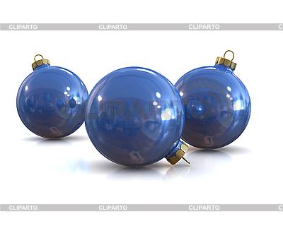 블루 크리스마스 광택 및 광택 공 | 높은 해상도 그림 |ID 3047920