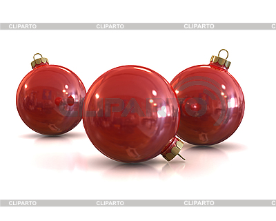 Red christmas glossy and shiny balls | High resolution stock illustration |ID 3047923