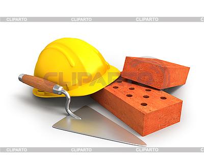 Ziegelsteine, Maurerkelle und gelber Kunststoff-Helm | Illustration mit hoher Auflösung |ID 3047944