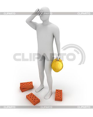 3D white builder tired | High resolution stock illustration |ID 3047962