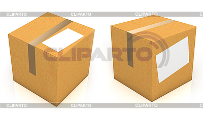 Carton boxes with blank paper for text | High resolution stock illustration |ID 3047979