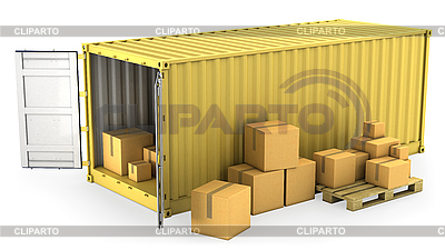 Yellow opened container with lot of carton boxes | High resolution stock illustration |ID 3048007