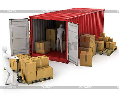 Two workers unload container   High resolution stock illustration  ID 3048015