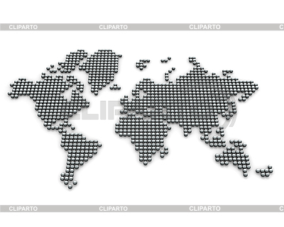 World map of silver balls | High resolution stock illustration |ID 3048018