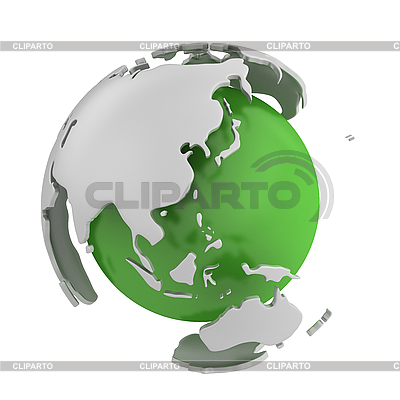 Abstract green globe with Asia  | High resolution stock illustration |ID 3048067