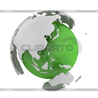 Абстрактный зеленый земной шар, Азия | Иллюстрация большого размера |ID 3048067