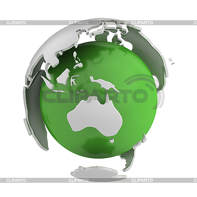 Abstract green globe with Australia | High resolution stock illustration |ID 3048068