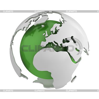 Abstrakte grüne Weltkugel mit Europa | Illustration mit hoher Auflösung |ID 3048069