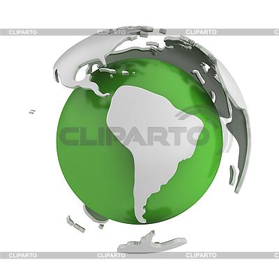 Abstrakte grüne Weltkugel mit Südamerika | Illustration mit hoher Auflösung |ID 3048070