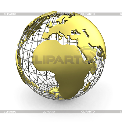 Golden globe, Europe and Africa | High resolution stock illustration |ID 3048073
