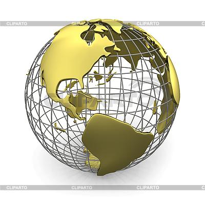 Goldener Globus mit Amerika | Illustration mit hoher Auflösung |ID 3048074
