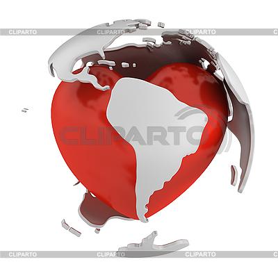 Globus mit Herz, Südamerika | Illustration mit hoher Auflösung |ID 3048079