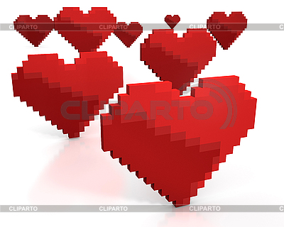 Red hearts made of pixels | High resolution stock illustration |ID 3048101