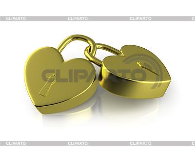 Dwa połączone złote zamki jak serca | Stockowa ilustracja wysokiej rozdzielczości |ID 3048108