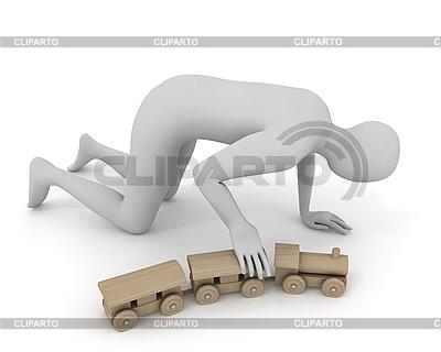 3D mężczyzna gra z drewnianym pociągiem | Stockowa ilustracja wysokiej rozdzielczości |ID 3048138