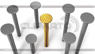 Golden nail among steel nails | High resolution stock illustration |ID 3048153